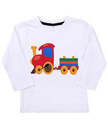 Babyhug Full Sleeves T-Shirt Toy Train Print - White
