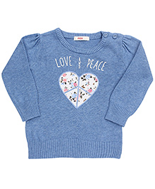 Fox Baby Full Sleeves Sweater Love And Peace - Sky Blue