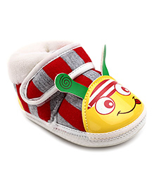 Cute Walk Booties With Velcro Closure Stripes - Red And Grey