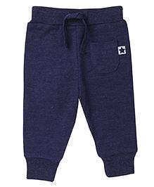 Fox Baby Plain Leggings With Drawstring - Navy Blue