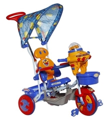 Mee Mee Tricycle with Canopy and Push Handle - Blue Basket