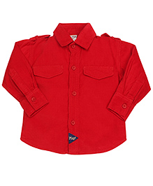 Little Kangaroos Plain Full Sleeves Shirt - Dark Red