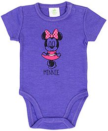 Fox Baby Short Sleeves Onesies Minnie Mouse Print - Purple