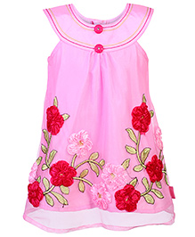 Chocopie Sleeveless Net Frock With Flower Applique - Pink