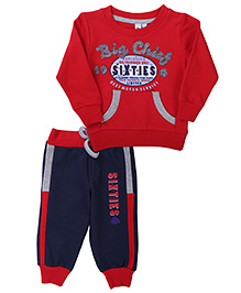 Mickey T-Shirt And Track Pant Big Chief Print - Red Navy