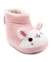 Cute Walk Bunny Design Booties Stripes - Pink