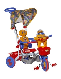 Mee Mee Tricycle with Canopy and Push Handle - Red Basket