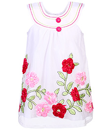 Chocopie Sleeveless Net Frock With Flower Applique - White