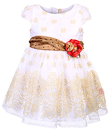 Chocopie Cap Sleeves Self Rose Embroidery Net Frock - Gold & White