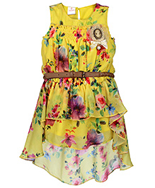 Chocopie Sleeveless Flower Print Frock With Belt - Yellow