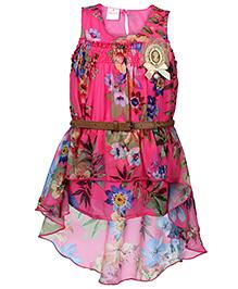 Chocopie Sleeveless Flower Print Frock With Belt - Pink
