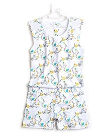 Summer Romper Bird and Sun Design - White