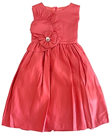Satin Coral Party Frock With Frill And Stone On Neck