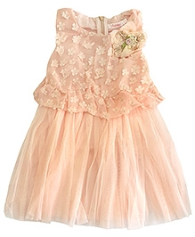 Peach Net Frock With Studs Brooch And 3D Flowers