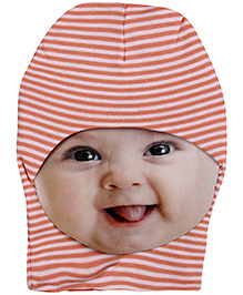 Ben Benny Monkey Cap Stripe Pattern - White And Peach - 636607a