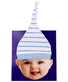 Ben Benny Cap With Velvety Texture - White And Blue - 636614a