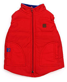 Little Kangaroos High Neck Jacket WIth Patch - Red