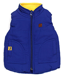 Little Kangaroos High Neck Jacket WIth Patch - Royal Blue