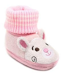 Cute Walk Slip-On Style Booties Puppy Design - Pink
