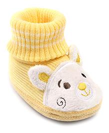 Cute Walk Slip-On Style Booties Puppy Design - Yellow