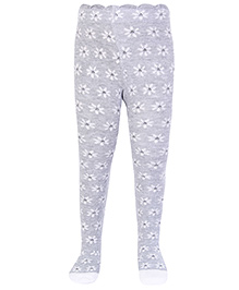 Mustang Footed Tights Stockings All Over Floral Print - Grey