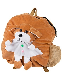 O Teddy Plush Shoulder Bag Puppy Applique Brown - Height 14 Inches