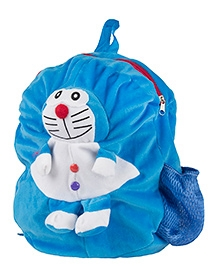 O Teddy Plush Shoulder Bag Doraemon Applique Blue - Height 14 Inches