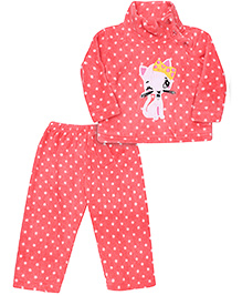 Kanvin Full Sleeves Sweat Shirt And Pant Kitty Embroidery - Pink