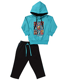 Kanvin Full Sleeves Hooded Sweat Jacket And Pant - Blue Black