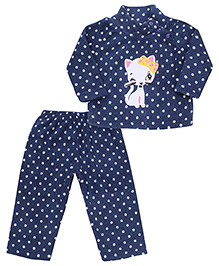 Kanvin Full Sleeves Sweat Shirt And Pant Kitty Embroidery - Navy