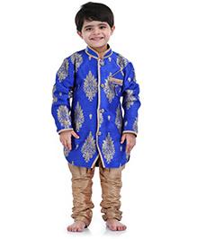 Babyhug Kurta And Jodhpuri Breeches Set Weaving Pattern - Blue