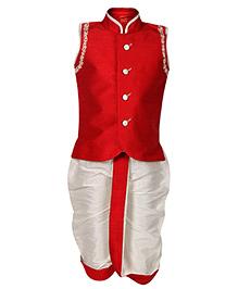 Ethniks Neu Ron Sleeveless Jacket And Dhoti - Red And White