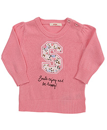 Fox Baby Full Sleeves Sweater Smile And Enjoy Print - Light Pink