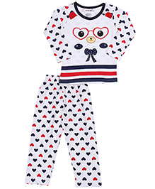 Doreme Full Sleeves Top And Pajama Bear Design - White And Navy