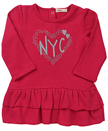 Fox Baby Full Sleeves Frock NYC And Heart Print - Fuchsia Pink
