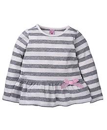 Sela Full Sleeves Top Stripes Print - White And Grey
