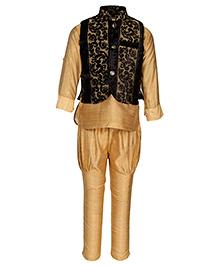 Little Bull Ethnic Kurta Pajama Designer Jacket Set - Black Beige