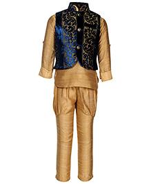 Little Bull Ethnic Kurta Pajama Designer Jacket Set - Blue Beige