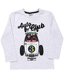 Sela Full Sleeves T-Shirt Auto Club Print - Light Grey