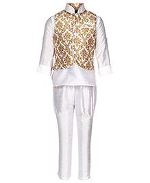 Little Bull Ethnic Kurta Pajama Jacket Set - Yellow White