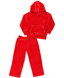 Kanvin Full Sleeves Hooded Jacket And Pant - Red