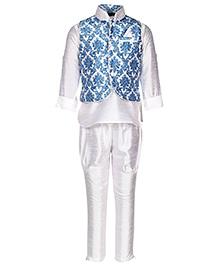 Little Bull Ethnic Kurta Pajama Jacket Set - Blue White