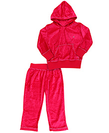 Kanvin Full Sleeves Hooded Jacket And Pant - Pink
