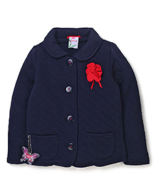 Sela Full Sleeves Jacket With Floral Applique - Blue