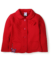Sela Full Sleeves Jacket With Floral Applique - Red