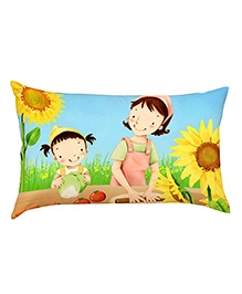 Stybuzz Child Cooking With Mom Baby Pillow Cover - Multicolour