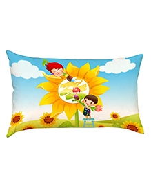 Stybuzz Kids Painting On Flower Baby Pillow Cover - Multicolour