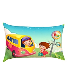 Stybuzz Child Going To School Baby Pillow Cover - Multicolour