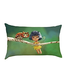 Stybuzz Little Fairy With Owl Baby Pillow Cover - Green
