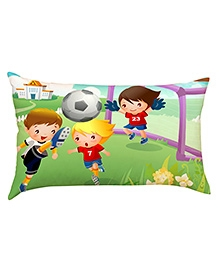 Stybuzz Kids Playing Football Baby Pillow Cover - Multicolour